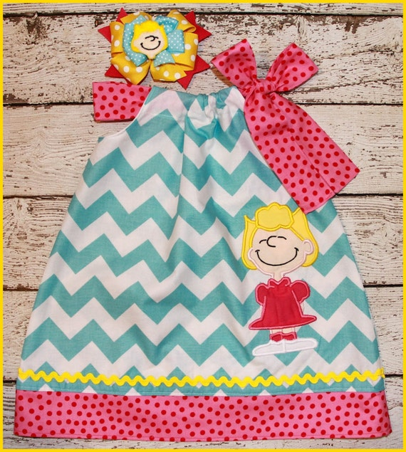 Peanuts Sally  Pillowcase style dress  matching hair bow available Charlie Brown Sister