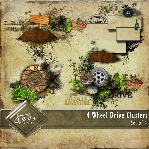 Digital Scrapbooking Clusters set of 4, 4 WHEEL DRIVE premade embellishment png clusters to make quick scrap page.