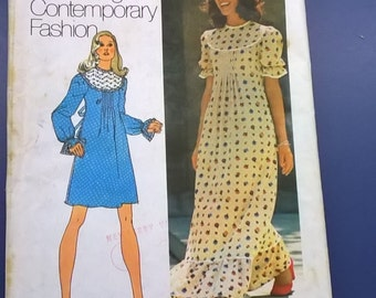 Vintage 1972 Simplicity Pattern 5403 Peasant Dress in Two Lengths