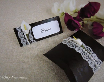 Black with White Lace & Calla Lily Embellishment Favour Box and Place Cards