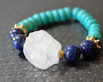 Sale Price(limited time): White Quartz, Blue Lapis Lazuli and Blue Turquoise Bracelet/Bridesmaid Gift