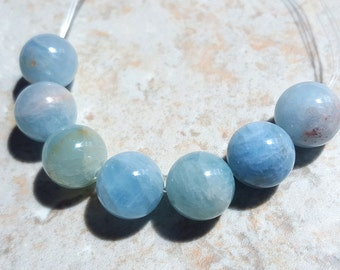 Aquamarine Gemstone Beads, Green and Blue Beryl Beads, 11mm Round, A Grade, 7 pcs