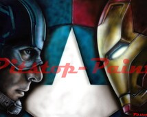 Avengers, Civil War, Captain America, Iron man - A1 canvas print from airbrushed artwork