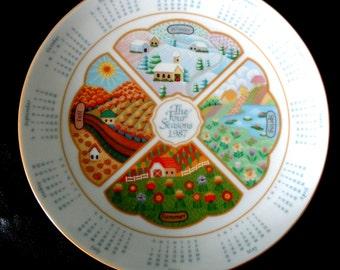 REDUCED Vintage 1987 Avon Calander Plate – The Four Seasons
