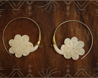 Hand carved bone, flower, hoops made from 925 silver and brass, gypsy, tribal hoops