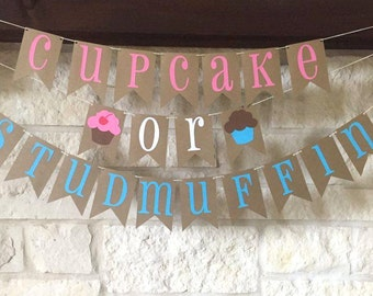 Gender Reveal Banner - Gender Reveal Decor - Cupcake or Stud Muffin Banner - Cupcake or Studmuffin Banner - Cupcake or Stud Muffin Decor