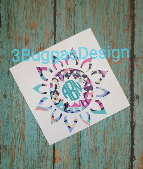 Mandala Decal Monogram, yeti decal, tumbler decal, personalized decal, patterned vinyl decal, coffee cup design,Lilly Pulitzer,car decal,