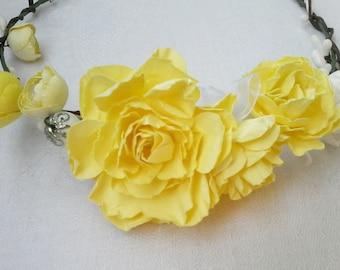 Baby flower crown, Flower headband,  Bridal Headpiece, Yellow rose crown, Baby flower crown, Flower girl, Bridal crown, Paper flowers