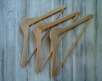 Vintage wood hangers - Wood clothing hangers - Three wood hangers - Wood hanger set - Old wood hangers - Clothing storage - Old wood hanger