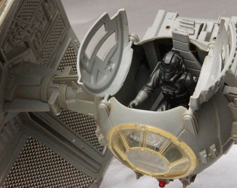 Vintage Star Wars Interceptor Tie Fighter with Action Figure and Working Lights