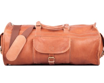 Leather travel bag sports bag leather bag Weekender
