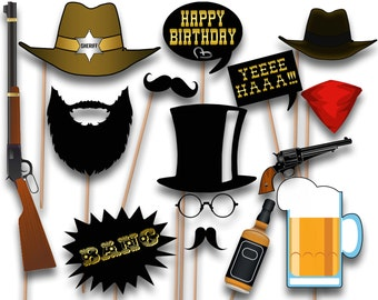 Printable Cowboy Party Photo Booth Props - Western Party PhotoBooth Props - Party Props - Party Photo Booth Props
