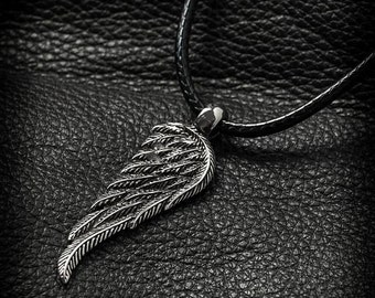 Angel Wing Necklace, Wing Necklace Mens,Leather Pendant Necklace,Angel Wing Pendant,Angel Wing Jewelry,Guardian Angel Necklace,Mens Necklace