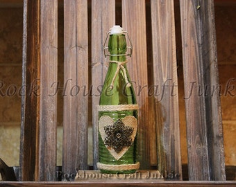 Flip Top Bottle | Decorative Glass Bottle| Home Decor|Antique|Table Decorations|Shabby Chic|Rustic|Handmade