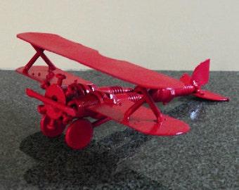 Scrap Metal sculpture Red Biplane