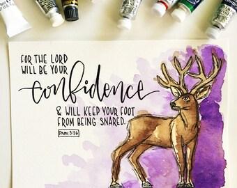 Confidence original watercolor // Original art // Bible verse // Scripture // Wall art // Hand lettering // Deer // Forest