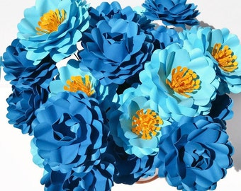 Stemmed Paper Flowers-Mixed Colors-Set of 24