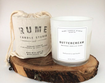 Buttercream Whipped Frosting or Icing Signature Scented Soy Wax Blend Candle with Wood Wick