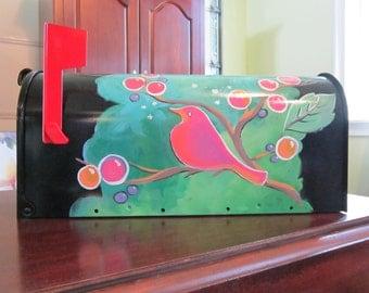 Bird on Branch Painted Mailbox