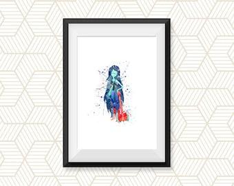 Adventure Time Print, Vampire Queen, Marceline, Watercolor Art, Printable, Home Decor, Wall Art, Baby Room Decor, Kids Decor, Nursery Gifts