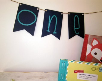ONE Banner - Birthday banner, paper garland, bunting, one year old