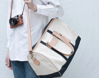 Gentlefolk Duffle bag in White-Navy