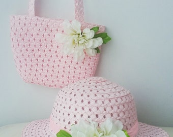Royal pink hat and purse set