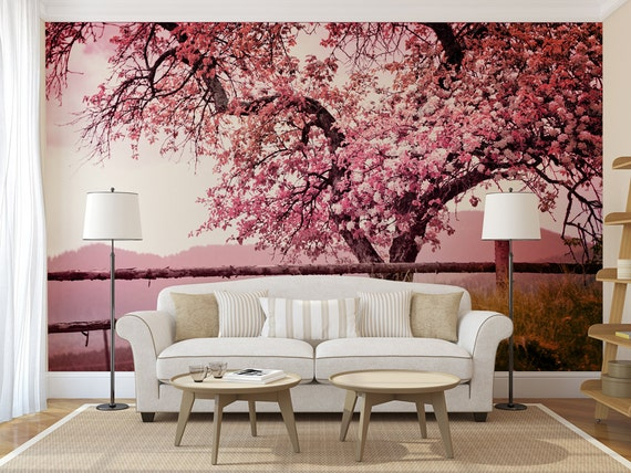 Cherry blossom tree mural self adhesive peel and stick photo for Cherry tree mural