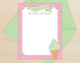 Ice Cream Thank You Card, Personalized Thank You, Pink & Green Thank You, Ice Cream Party Printable