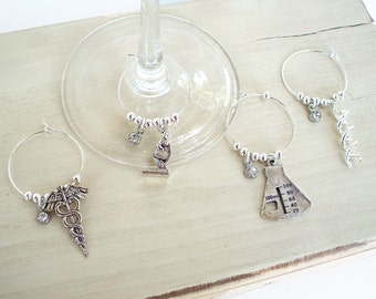 Science Wine Glass Charms - Set of Four - Science Gift