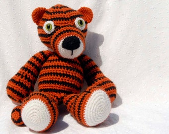 Crochet Tony Tiger, Amigurumi Stuffed Toy, Hand Made Soft Toy, Orange and Black Tiger with Snap On Safety Eyes