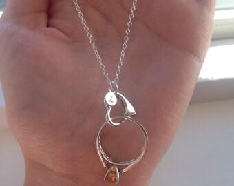 personalized ring holder necklace wedding bridal engagement maternity hair dresser - Wedding Ring Necklace