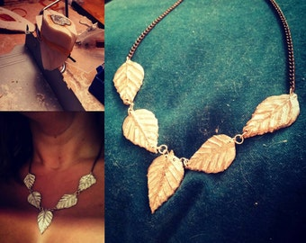 Hand crafted Pewter and Sterling Leaf Necklace