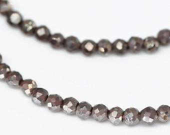 Mystic Almandine Garnet Faceted Round Ball Loose Beads Strand - 4 inches - 3 MM - 7 MM - Jewelry Making