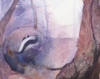 Original mixed media painting by Shari Hills. Woodland badger.