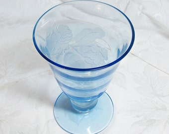 Tiffin Swedish Optic Copen Blue Vase With Sand Carved Floral Design