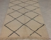 Cream and black beni ourain Moroccan rug,handmade rug,wool carpet, Berber carpet, bohochic style, bohemian rug,Marrakech rug,Moroccan carpet
