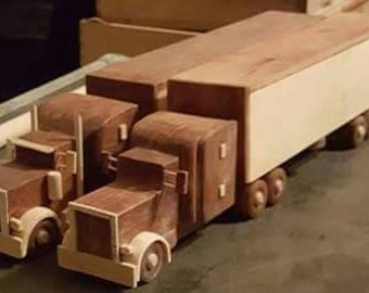 Handcrafted wooden truck and trailer