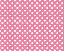 KNIT Fabric, Small Dot Hot Pink, Pink with White Polka Dots, Pink and White Knit, Riley Blake Knits, Cotton Spandex Knit, Jersey Knit Fabric