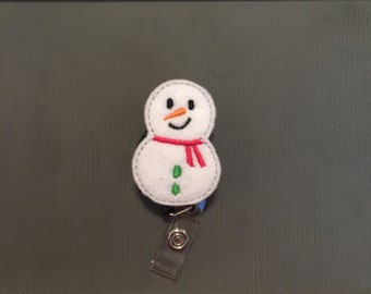 Frosted Snowman Christmas Badge Reel