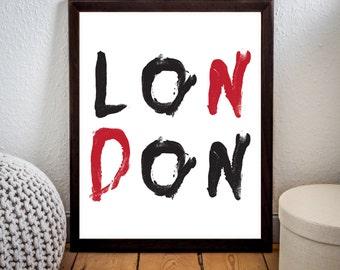 London Print,London typography print,Typography sign,Typography art,Home wall art,London Printabe,LONDON,Instant download,Home Decor