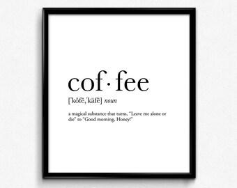 Coffee Magic definition, college dorm girl, dictionary art, minimalist poster, funny definition print, dorm decor, office decor