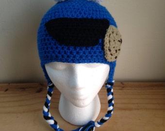 Cookie Monster Inspired Earflap Beanie