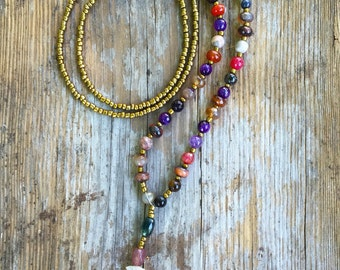 Neutral necklace with accent colored beads