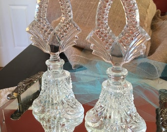 Antique Perfume Bottles, Crystal Cut, Art Deco