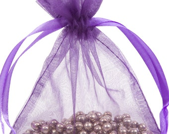100 Violet Organza Gift Pouch Wedding Favour Bag Jewellery Pouch- 6 Sizes