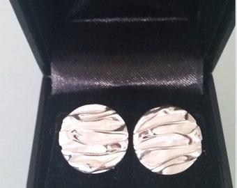 Silver Organic Bark Pattern Earings