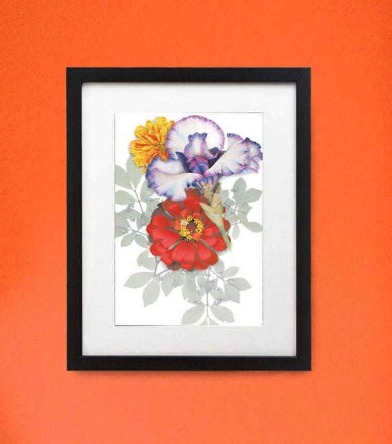 "Framed flower print of Iris & Zinnia. 11"" x 14"" wood frame. Modern botanicals in unique setting."