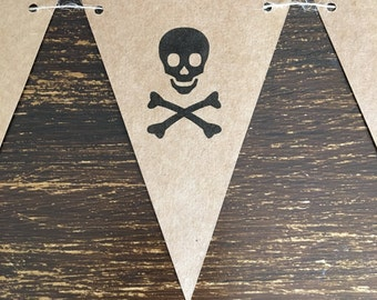 Skull and cross bone kraft bunting, home decor, pirate party decorations