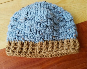 Baby Boy's Basket Weave Crocheted Hat. Size 6-12 Months, Blue/Brown, Baby Hat, Infant Hat, Children's Hats, Toddler Accessories, CLEARANCE